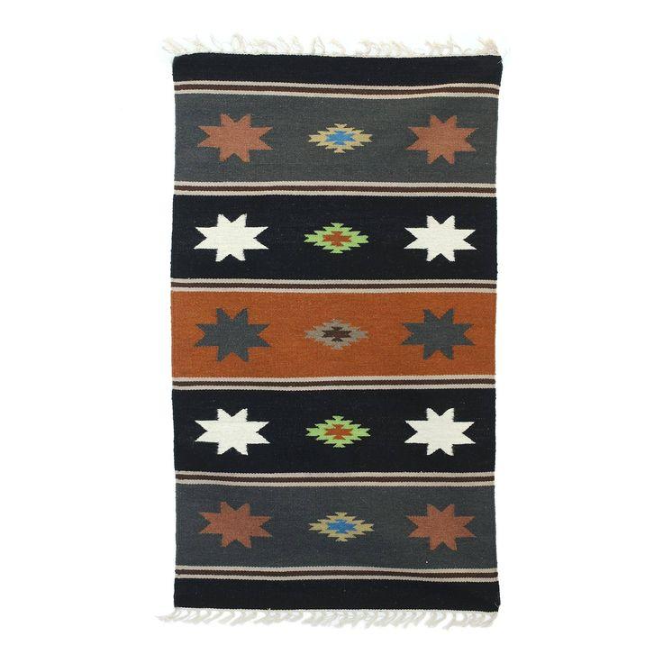 3x5 Striped Wool Dhurrie Rug With Geometric Motifs, 'Night