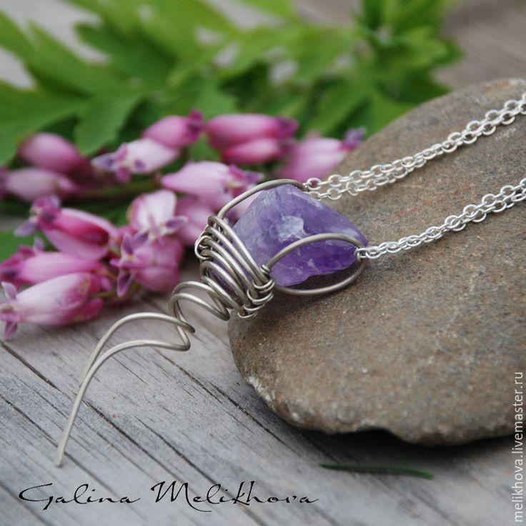 Купить Кулон из нейзильбер и аметиста - фиолетовый, кулон, кулон с камнем, кулон на цепочке