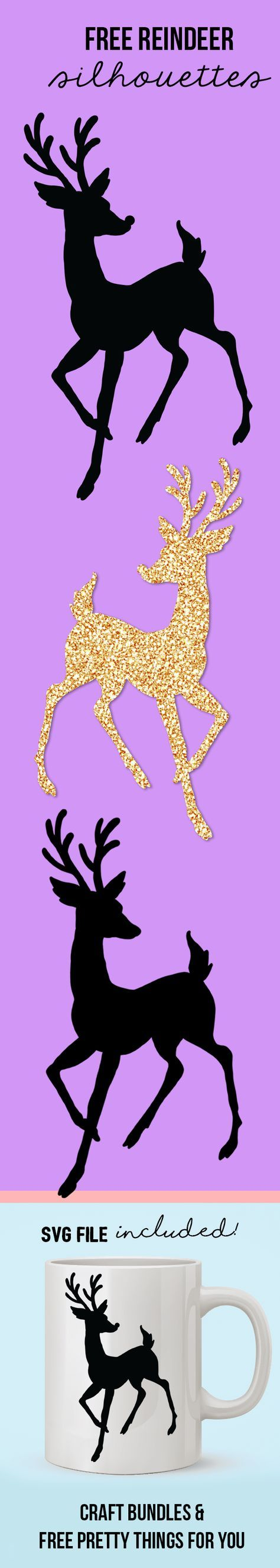 free reindeer silhouette cutting files
