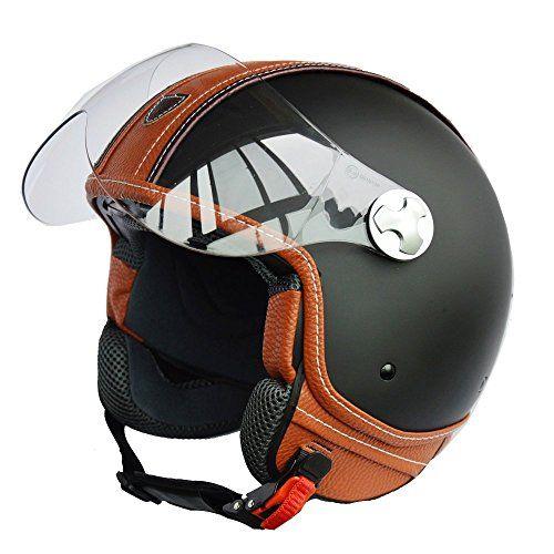 Italian Design (MOCA B) ECE DOT Motorcycle Helmet,Unisex Open Face ITALY Jet Sport Urban Vintage CASCOS,Leather Style,Capacete,Half Helmet (Medium)