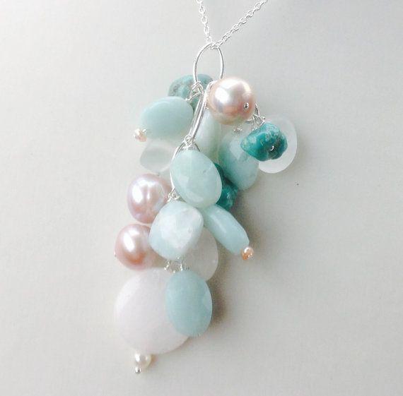 Blue Gemstones Pendant  Mixed gemstones pendant by MingJewelsChic