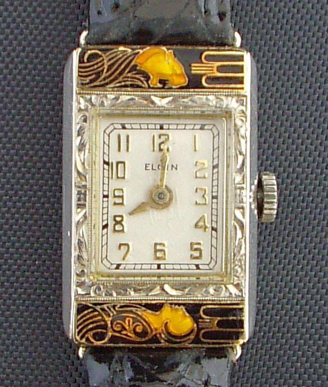 Elgin Watch  (Ladies 14K Gold Wristwatch, Lady & Tiger Enamel Art Deco, Vintage Women's Pre-owned Designer Watches)