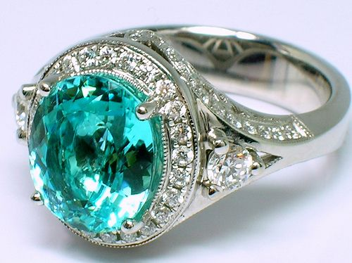 Paraiba tourmaline - very rare stone from Brazil discovered in the 1980's. The neon color is partly due to copper.