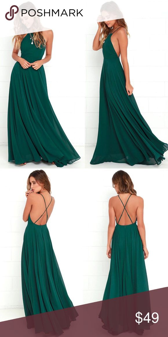 Lulus Mythical Kind of Love Dark Green Maxi Dress Large. Dark Green.    Worn once. Great condition.    Mythical Kind of Love Dark Green Maxi Dress. Lulu's Dresses