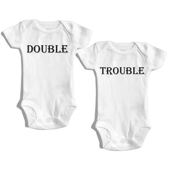 Double trouble – Twin outfit – Baby shower gift for twins – Boy girl twin – Girl boy twin – Boy boy twins – girl girl twins – Twinmom – twin