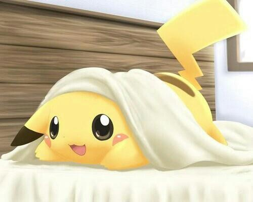 pikachu on the bed..