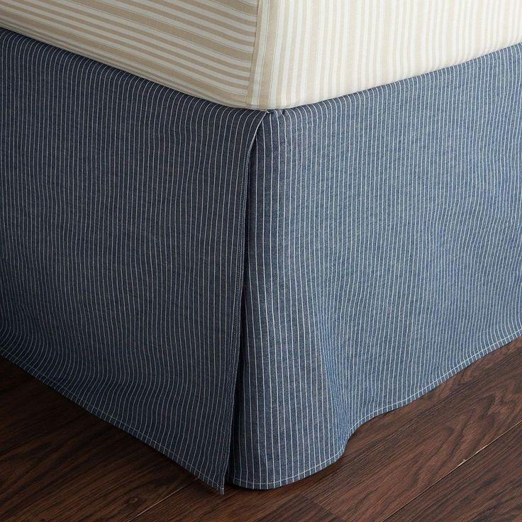 """Ralph Lauren Bluff Point Vest Stripe King Bedskirt Blue Ivory 18"""" Drop #RalphLauren #Transitional"""