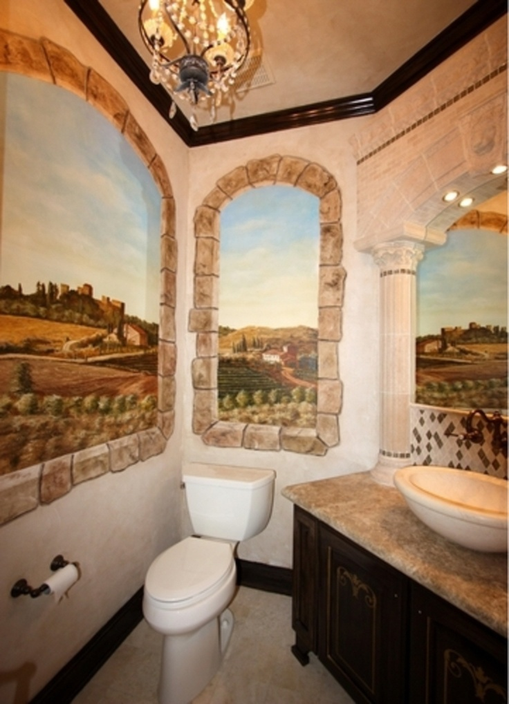 I love what wall murals can do to a super small space for Super small bathroom
