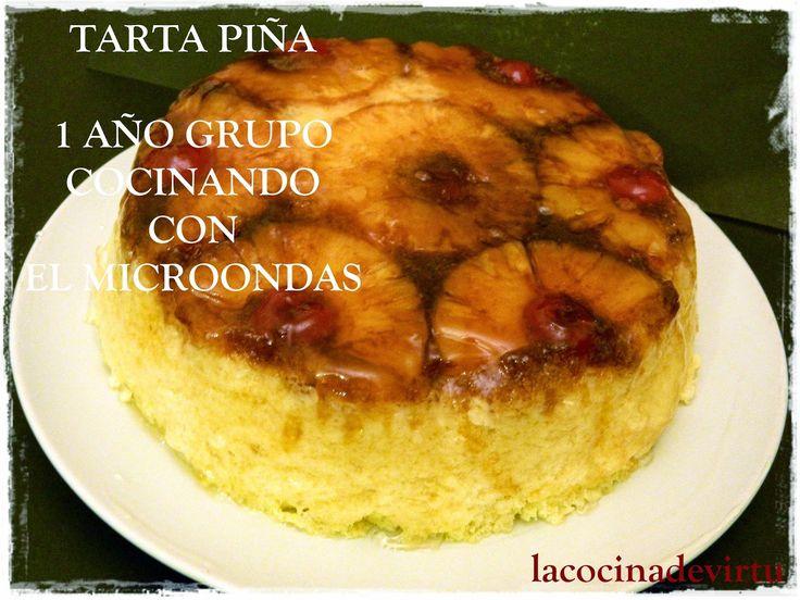 La cocina de Virtu: TARTA BIZCOCHO DE PIÑA AL REVES CELEBRANDO EL AÑO EN EL MICROONDAS