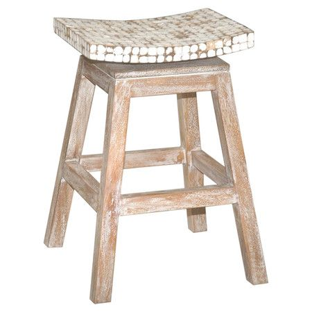 Teak Counter Stool With A Coconut Chip Inlaid Seat