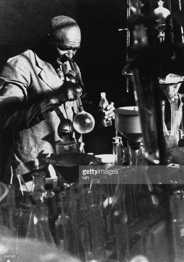 American scientist George Washington Carver (1864 - 1943), the son of a slave from Missouri, working at the Tuskegee Faculty in Alabama.