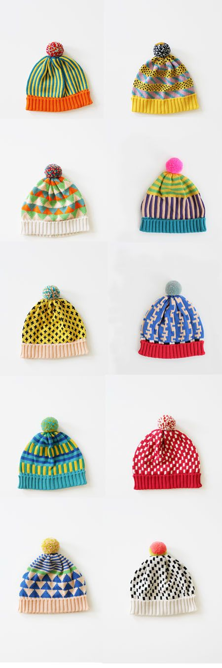 I am in bobble hat heaven … but which one to choose? A girl can never have enough bobble hats, right? These super fun cosy hats are by textile designer  Annie Larson and can be purchase in her shop allknitwear.com.   You might also like:Colour wheelNew Design Experiments | MemphisPopsicle thermometersTickle and PopQuestioning Creatives Interview
