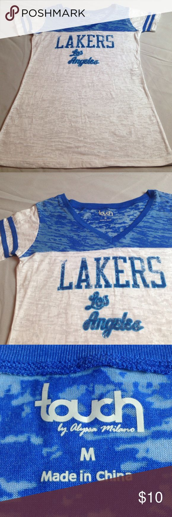 NBA LAKERS LOS ANGELES TEAM TOP TEE EXCELLENT CUTE NBA LAKERS LOS ANGELES TEAM TOP TEE EXCELLENT CONDITION Size M Women's LIKE NEW Very  Cute TOUCH BY ALYSA MILANO Tops Tees - Short Sleeve