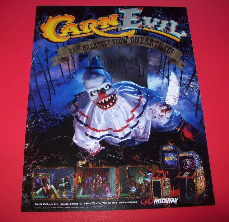 Midway CARNEVIL 1998 Original NOS Video Arcade Game FLYER CARN EVIL Horror Theme #Midway