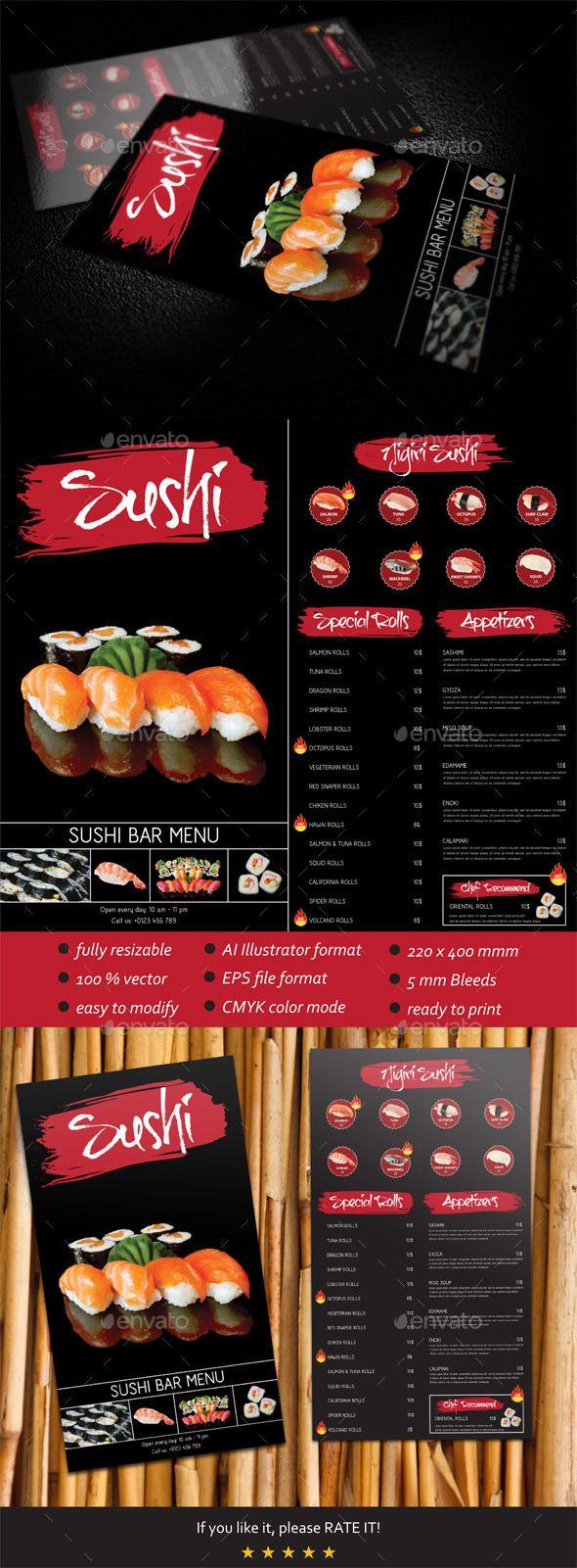 Sushi Bar Menu Template #design Download: http://graphicriver.net/item/sushi-bar-menu-template/7372303?ref=ksioks