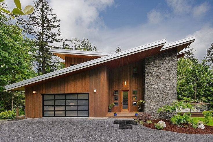 exterior modern green house Impressive Modern Cottage at the Base of Squak Mountain, Washington