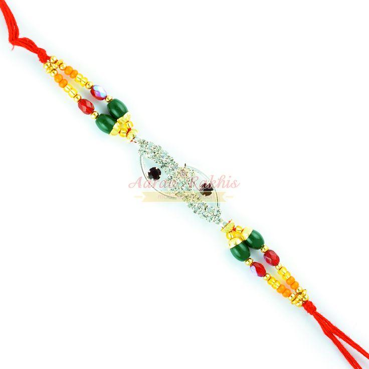 Colorful Beads with Designer Diamond Mauli Rakhi