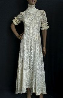 A tea dress - not so fine as court clothes, but considerably finer than everyday Edwardian women's wear.