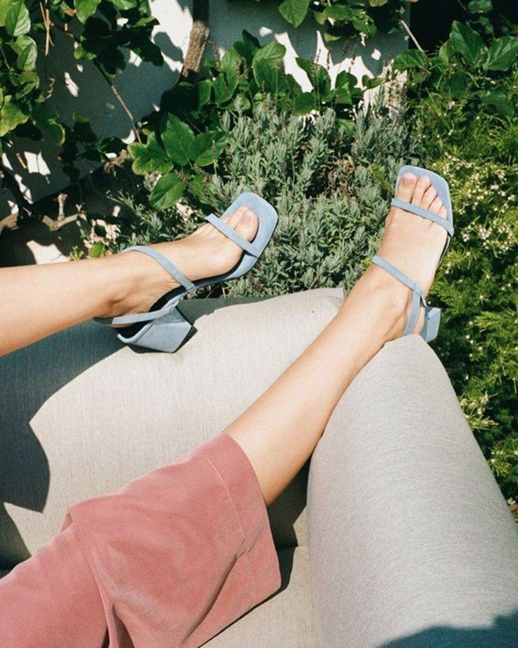 LA based footwear label LoQ makes dreamy sandals. Blue suede square toe  sandals.