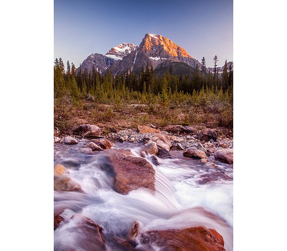 Mountain Photography - Wall Decor, Banff, Landscape Image, Sunset, Dreamy Water, Wall Art, Warm Fall Colors, Decoration, Nature, Flowers