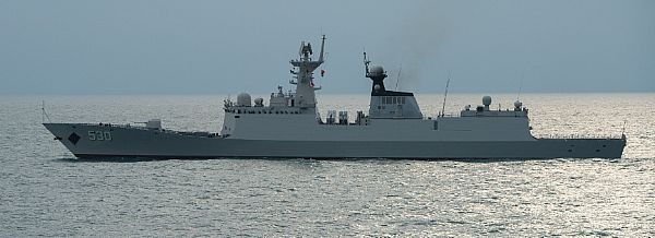 The People's Liberation Army Navy Jiangkai II class guided-missile frigate Xuzhou (FFG 530) steams past the forward-deployed Arleigh Burke-class guided missile destroyer USS Stethem (DDG 63) after participating in a Code for Unplanned Encounters at Sea (CUES) and a search-and-rescue (SAR) exercise.