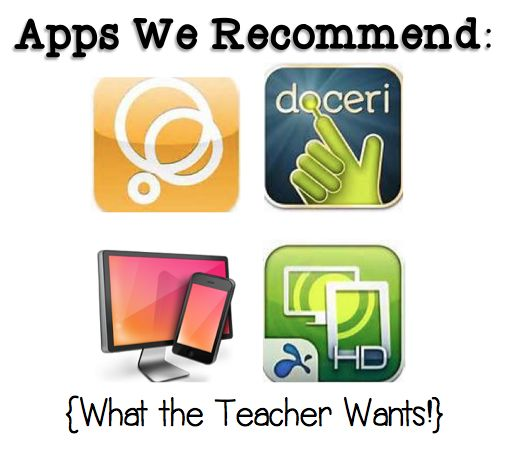 Apps of 2013! digital portfolio, reflecting your iPad through your projector without a cord, etc. What the Teacher Wants!