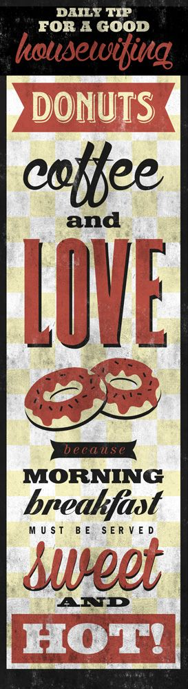 DONUTS, COFFEE AND LOVE printed on blueback paper