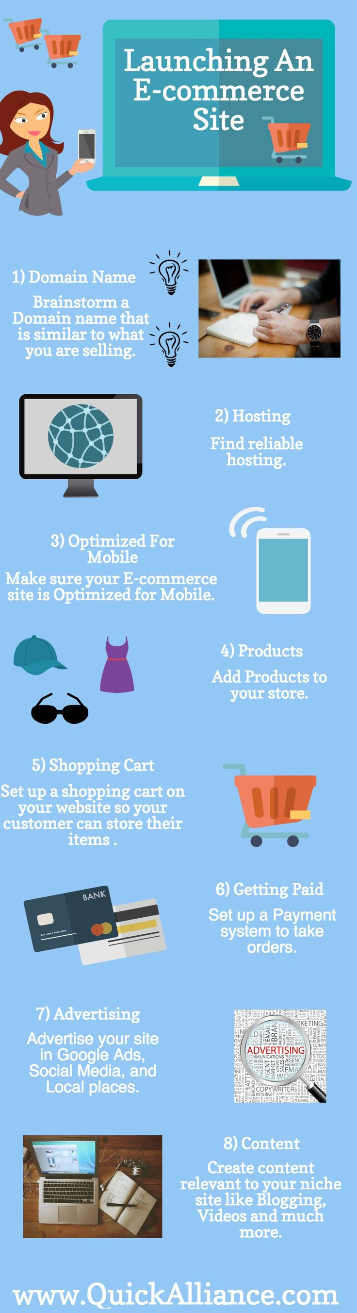 Launching An E-commerce Site - #INFOGRAPHIC http://www.quickalliance.com/launching-e-commerce-site/