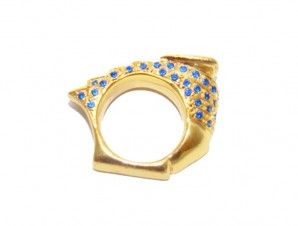 A.R.Werner.com Nautilus Yellow & blue pave PINKY RING yellow gold blue sapphires, WOMENS ring