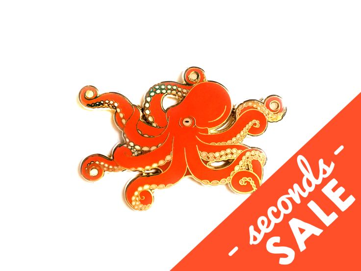 Seconds Sale - Red Octopus Pin