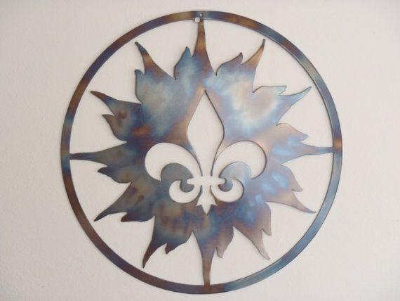 Fleur De Lis And Sun, Metal Art, Round Wall Decor