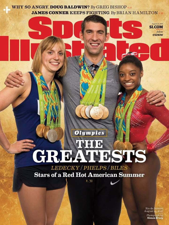 Katie Ledecky, Michael Phelps and Simone Biles are on this week's cover of Sports Illustrated! #Rio2016 (via Sports Illustrated)