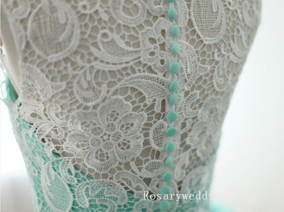 Bluegreen lace tulle princess wedding dress by rosary11 on Etsy, $369.00, This in the light blue (#60), Irish tradition!