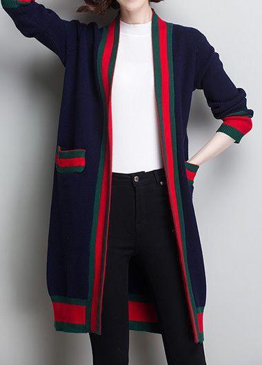 bb990e1e87d862 Long Sleeve Vertical Striped Black Cardigan | liligal.com - USD $35.01