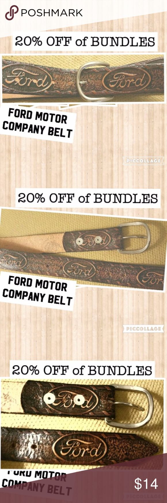 "Ford Motor Company Car Truck Leather Belt 29"" Hi, I'm Tracy! Thanks for stopping by! Feel free to leave me a comment so that I can check out your closet too. :) Any questions let me know. 🤔  29"" buckled good condition Accessories Belts"