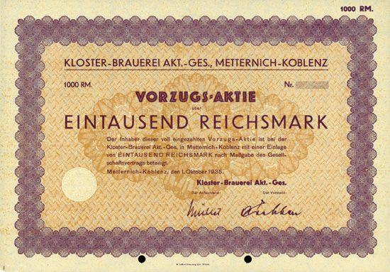 HWPH AG - Historische Wertpapiere - Kloster-Brauerei AG Metternich-Koblenz Metternich-Koblenz, 01.10.1935, Blankette einer Vorzugs-Aktie über 1.000 RM, ohne Nummer