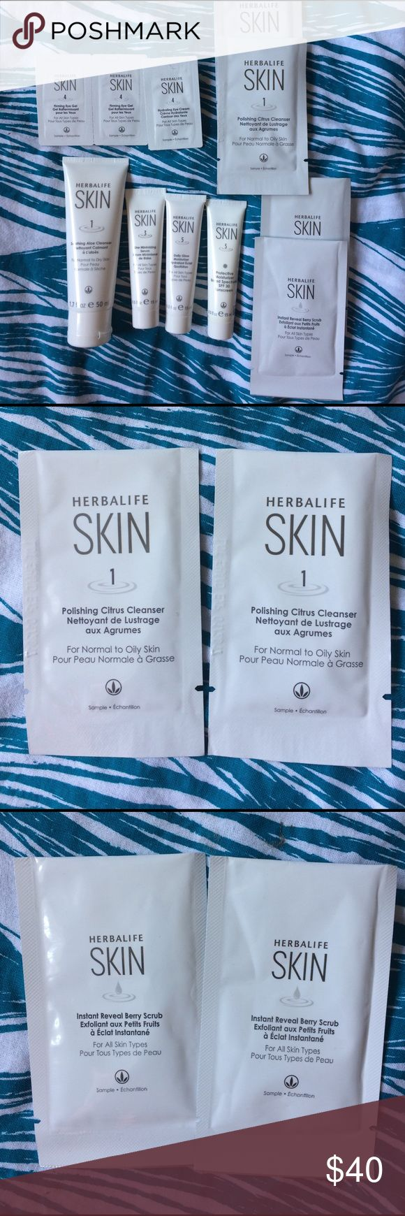 Herbalife skin care Herbalife skincare kit: 2 instant reveal berry scrub, 2 polishing citrus cleanser, 3 firming eye gels, 1 soothing aloe cleanser, 1 protective moisturizer, 1 line minimizing serum, 1 daily glow. All new, never used. Makeup