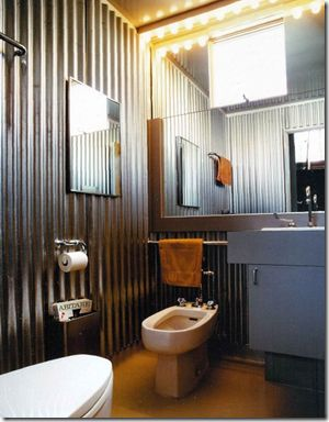 industrial bathroom - love the layout too, esp with the bidet; love the corrugated metal