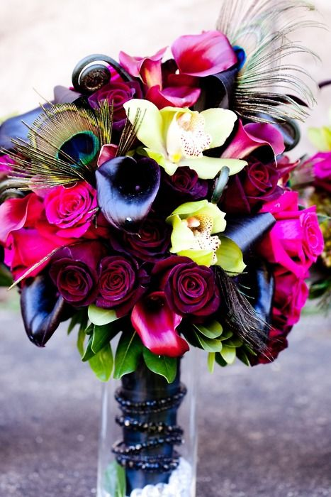 GORGEOUS! <3: Colors Combos, Wedding Bouquets, Wedding Colors, Floral Bouquets, Wedding Floral, Wedding Flower, Bold Colors, Peacocks Feathers, Bright Colors