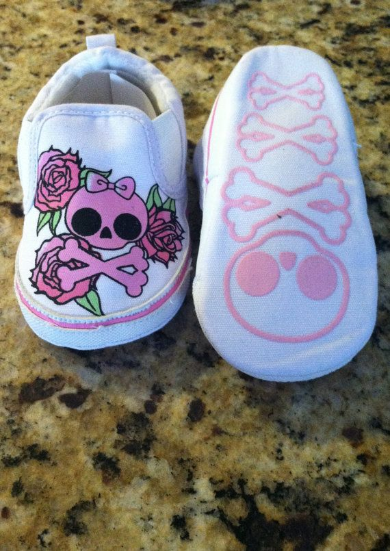 White & Pink Girly Skull shoes by RocknCharlie on Etsy, $13.99