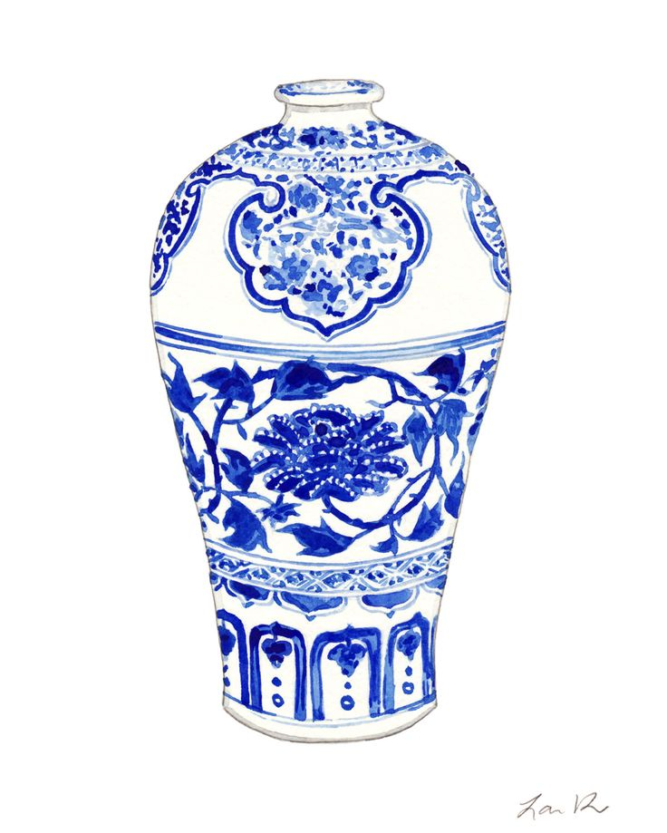 Blue and white ginger jar vase no 3 original watercolor for Decorating with blue and white pottery