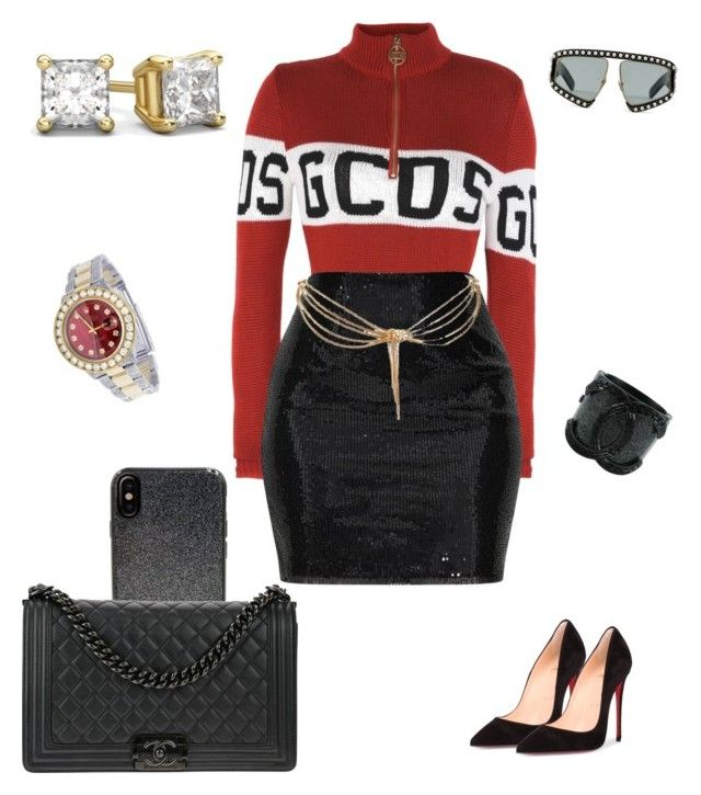 """Y'all missed me"" by trendyhoee on Polyvore featuring GCDS, Christian Louboutin, Candywirez, Chanel, Gucci, Christian Dior and Rolex"