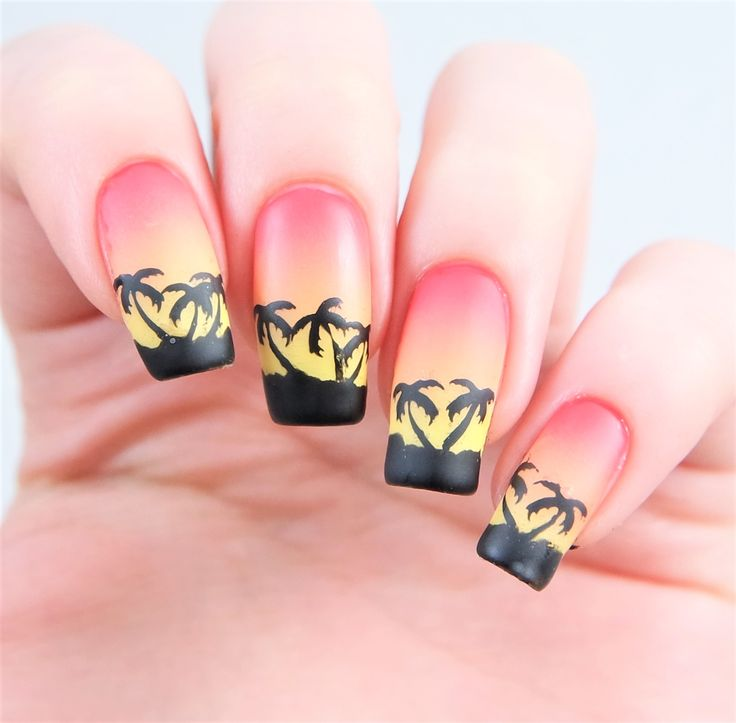 Beach sunset gradient manicure using our Palm Tree Nail Decals found at snailvinyls.com