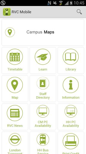 Welcome to the Royal Veterinary College's mobile app for students, a pioneering application that allows students to access comprehensive information about their university.<p>Features:<p>- Search campus maps for buildings and locations, on and off campus.<p>- Opening times of the various on-campus services <p>- Find out which rooms have available Open-Access Computers.<p>- View & renew your Library Loans.<p>- Search the Library Catalogue<p>- View your Course Timetable and add lectures to…