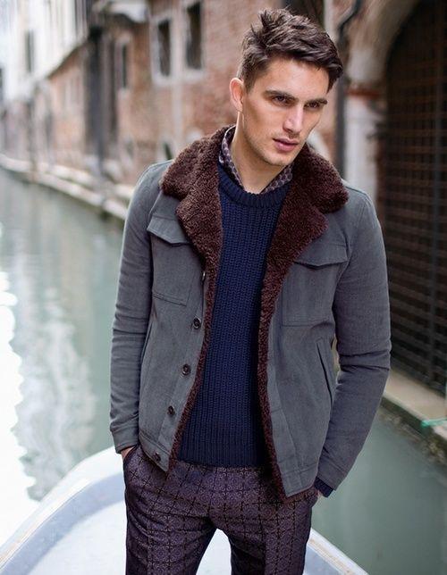 Faux Fur Lined Powder Blue Cardigan. Men's Fall Winter Fashion.