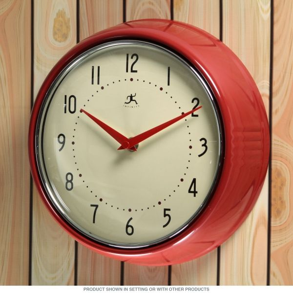 Lovely Red Fifties Style Kitchen Wall Clock