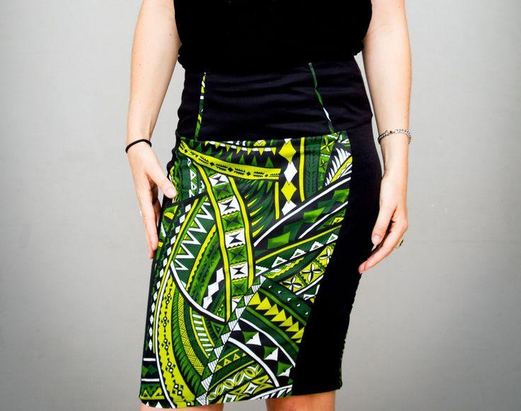 Jupe moulante pour femme imprimés vert et noir