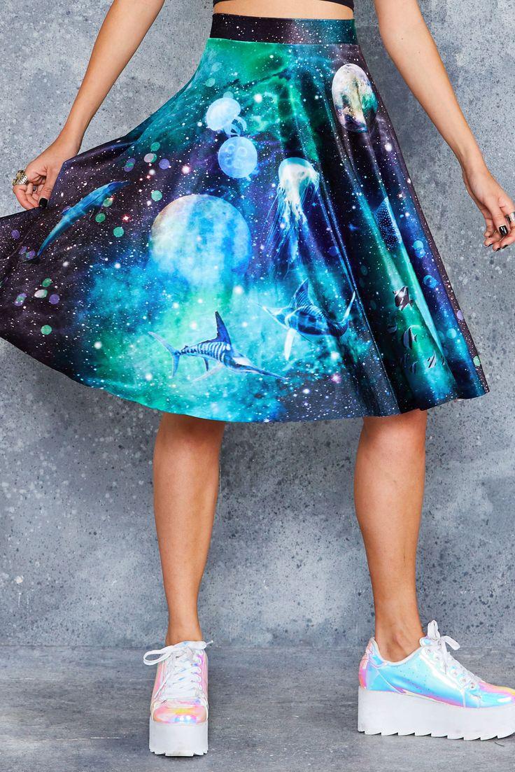 Galactic Ocean Velvet Midi Skirt - 48HR ($110AUD) by BlackMilk Clothing