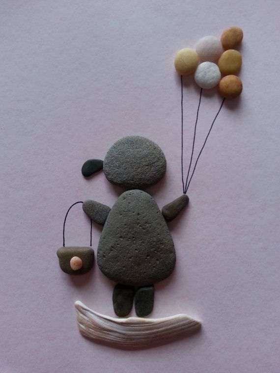 Pebble art rock art Girl with balloons by madebynatureandme