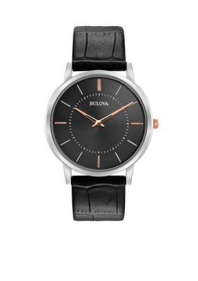 Bulova Men's Men's Classic Black Leather Watch - Black - One Size